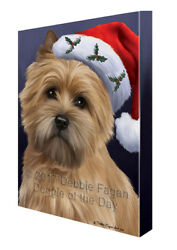 Christmas Cairn Terrier Dog Holiday Portrait with Santa Hat Canvas Wall Art