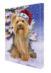 Winterland Wonderland Yorkshire Terriers Dog Christmas Holiday Canvas Wall Art