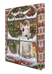 Please Come Home For Christmas Bull Terrier Dog Sitting Window Canvas Wall Art