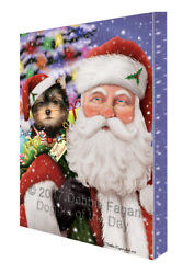 Jolly Old Saint Nick Santa Yorkshire Terriers Dog Holiday Gifts Canvas Wall Art