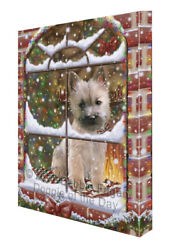 Please Come Home For Christmas Cairn Terrier Dog Sitting Window Canvas Wall Art