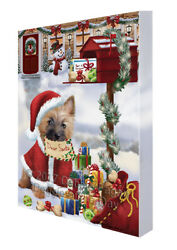 Cairn Terrier Dear Santa Letter Christmas Holiday Mailbox Dog Canvas Wall Art