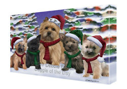 Cairn Terrier Dog Christmas Family Portrait Holiday Background Canvas Wall Art