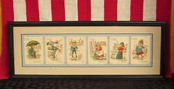 Vintage Antique Victorian Fishing Themed Playing Cards Framed 1900s Group Of 6