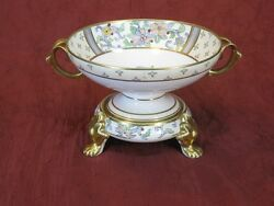 Antique Nippon Footed Two Part Centerpiece Bowl Hand Painted Gilded Green Mark