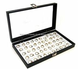 Lot Of 2 Glass Top White 50 Space Jewelry Display Cases Charms Pins Rings