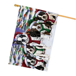 Boston Terrier Dog Christmas Family Portrait in Holiday Background House Flag