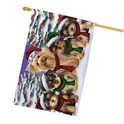 Yorkshire Terriers Dog Christmas Family Portrait Holiday Background House Flag