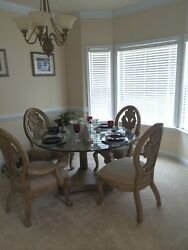 Living Room Couch, Endand Coffee Table, Dining Table/w Glass Top With 4 Chairs