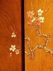 4-panel Limited Edition Solid Wood Hand Painted Screen. 20th Century. Signed