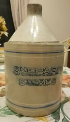 Rare Early Antique Shepard Co. Stoneware Jug Providence Ri Advertising Decor
