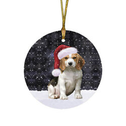 Let it Snow Christmas Holiday Beagles Dog Ornament a2131