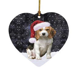 Let it Snow Christmas Holiday Beagles Dog Ornament a3446