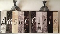 Set Of 2 Paris Plaques Wall Decor French Country Cottage Shabby