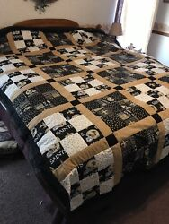 King Size Homemade Hand Quilted New Orleans Saints Quilt And Pillowshams