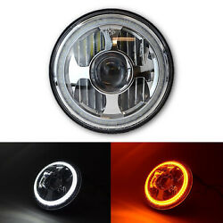 7 Led Projector Dual White Amber Halo Ring Light Lamp Bulb Motorcycle Headlight