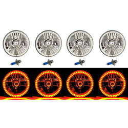 5-3/4 Smd Amber Led Halo Halogen Bulb Headlight Angel Eye Crystal Clear Set Of 4