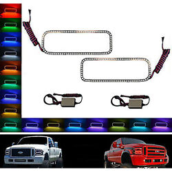 05-07 Ford F-250 Multi-color Changing Led Rgb Halo Lower Headlight Rings Pair