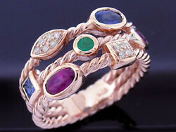 R212 Genuine 9k, 10k, 18k Gold Natural Ruby,emerald, Sapphire And Diamond Ring