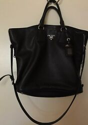 EUC Black Prada Women's Vitello Phenix BN2419 Tote Bag Handbag Purse $2400