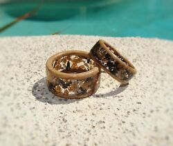Jack Daniels Whiskey Barrel Wood And Ebony Wood Resin Rings Lined With Barrel Wood