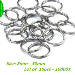 Stainless Steel Split Key Ring Fishing Solid Double Wire Jump Chain Hook 8-50mm