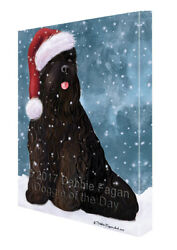 Let it Snow Christmas Holiday Black Russian Terrier Dog Canvas Wall