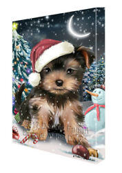 Holly Jolly Christmas Yorkshire Terrier Dog in Holiday Canvas Wall Art T46