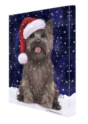 Let it Snow Christmas Holiday Cairn Terrier Dog Canvas Wall Art T15
