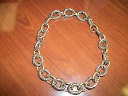 David Yurman Xl Extra-large Oval Link Gold And Silver Chain Necklace 3,950