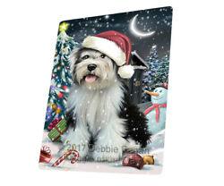 Holly Jolly Christmas Tibetan Terrier Dog Woven Throw Sherpa Blanket T127