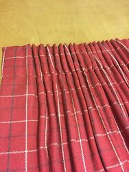 Porter And Stone Bamburgh Red Faux Wool Check Curtainsinterlinedhand Sewn