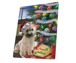 Christmas Cairn Terrier Dog Presents Woven Throw Sherpa Blanket T445