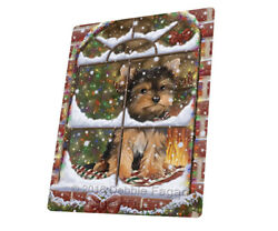 Come Home For Christmas Yorkshire Terriers Woven Throw Sherpa Blanket T339