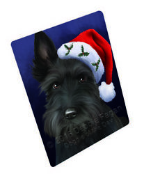 Christmas Scottish Terrier Dog Holiday Santa Hat Woven Throw Sherpa Blanket T10