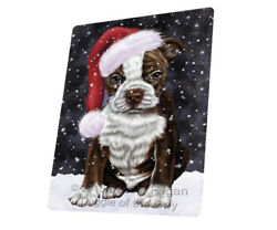 Let it Snow Christmas Boston Terriers Dog Woven Throw Sherpa Blanket T374