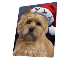 Christmas Cairn Terrier Dog Holiday Santa Hat Woven Throw Sherpa Blanket T431
