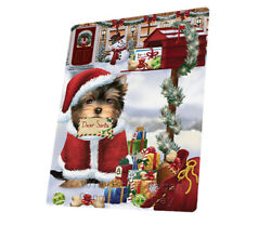 Yorkshire Terriers Dear Santa Mailbox Dog Woven Throw Sherpa Blanket T426