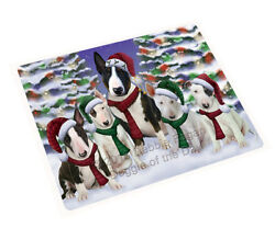 Bull Terrier Dog Christmas Family Holiday Woven Throw Sherpa Blanket T402