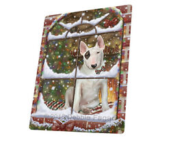 Please Come Home For Christmas Bull Terrier Woven Throw Sherpa Blanket T329