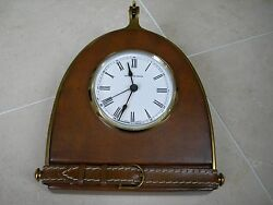 Maitland Smith Leather Table Top Clock With Classic Brass Accents Equestrian
