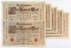 1910 1918 - 1922 Reichsbanknote Lot Of 6 Sequential 1000 Mark Banknotes Xf-au