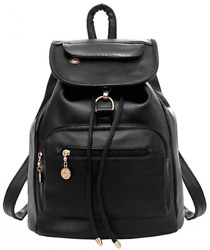 Women Black Leather Backpack for Girls Drawstring Schoolbag Casual Daypack