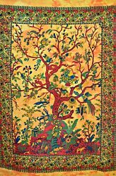 Tree Of Life Printed Cotton Wall Hanging Tapestry Poster Size Decor Throw