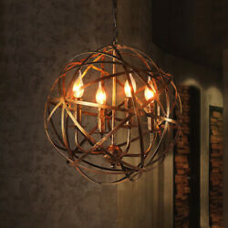 Candle Rustic Chandelier Wrought Iron Aged Brass Globe Pendant 4 Lights Fixture
