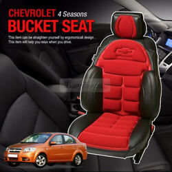 Bowtie Emblem Logo Bucket Seat Cushion Cover Red For Chevrolet 2006-2010 Aveo