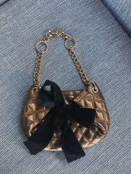 BCBG MAXAZRIA Bronze Metallic Quilted Bow Small Clutch Evening Bag NWT MSRP $178