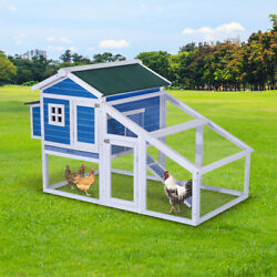 70'' Wooden Chicken Coop w Backyard Run and Nesting Box Hen House Poultry Pet