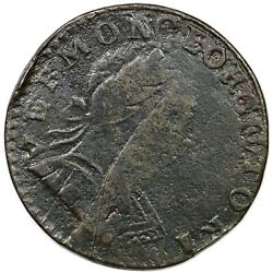 1788 Rr-18 R-4+ Struck Over Cft Irish Half Penny Vermont Colonial Copper Coin