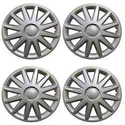 898 Universal Wheel Cover Abs Wheel Skins Set Hub Caps Silver 16and039and039 -set Of 4